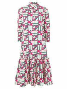 La Doublej dropped waist geometric print dress - White