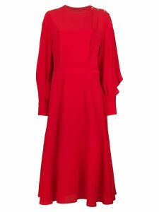 MSGM shoulder button midi dress - Red