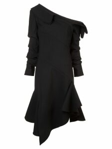 Monse asymmetric neck flared dress - Black