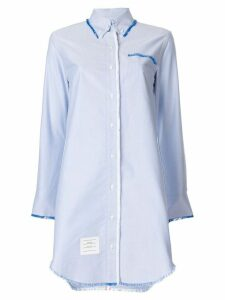Thom Browne Center-back Stripe Frayed Oxford Shirtdress - Blue