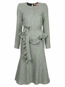 Maggie Marilyn belted herringbone dress - Grey