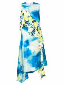 MSGM patterned ruffle dress - Blue