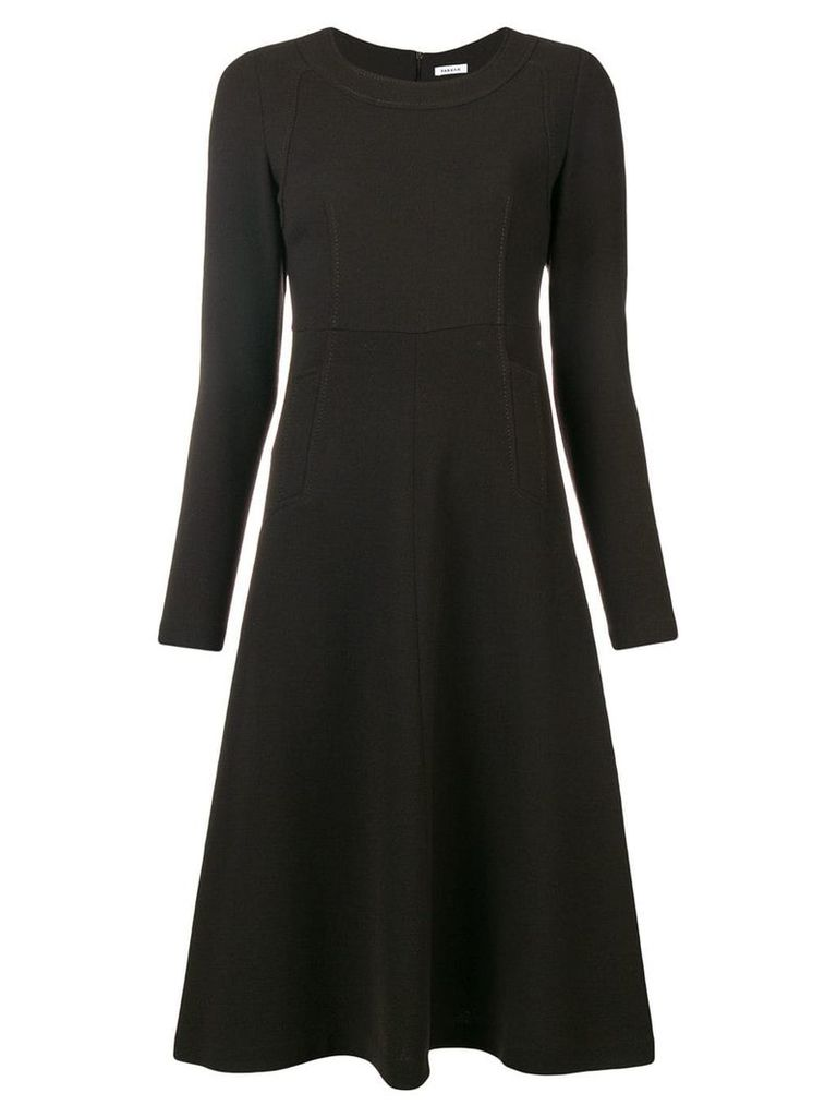 P.A.R.O.S.H. long sleeve flared dress - Brown