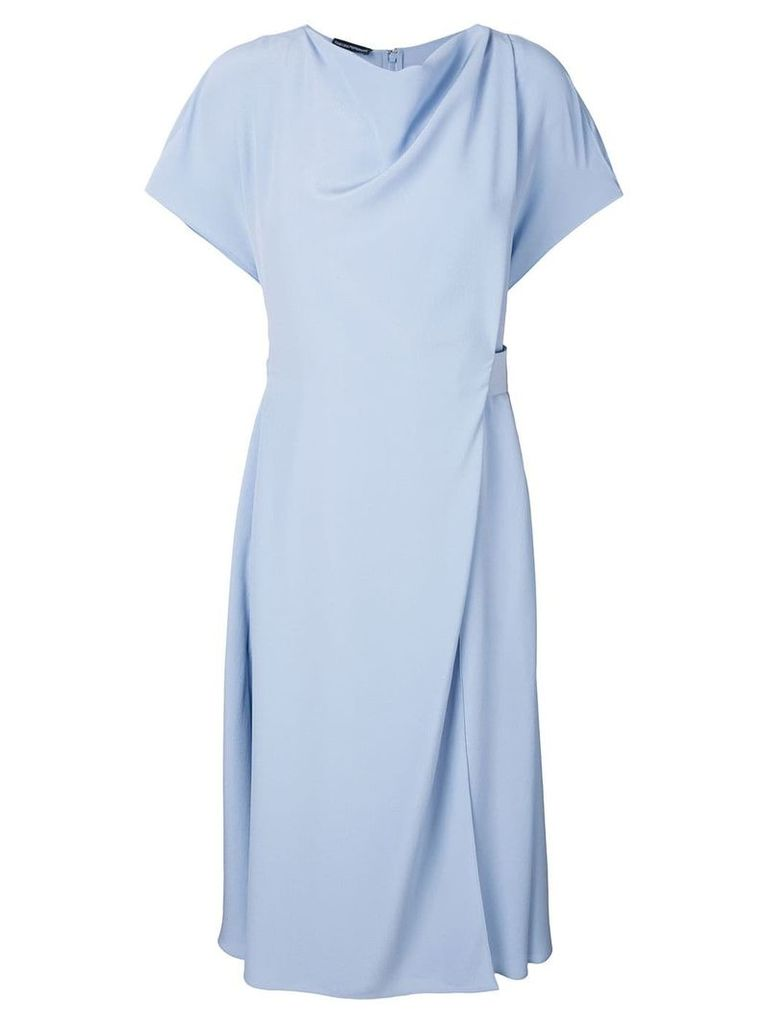 Emporio Armani wrap style front midi dress - Blue