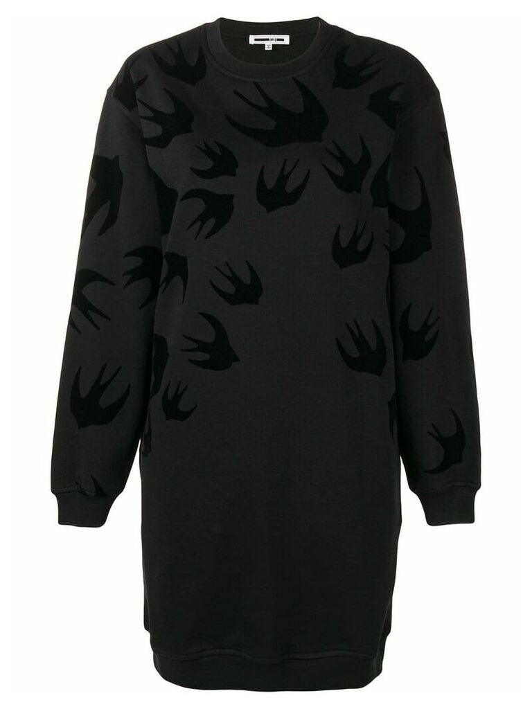 McQ Alexander McQueen Swallow print sweatshirt dress - Black