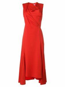 Victoria Beckham draped front midi dress - Red