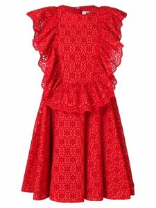 MSGM eyelet ruffled front sleeveless dress - Red