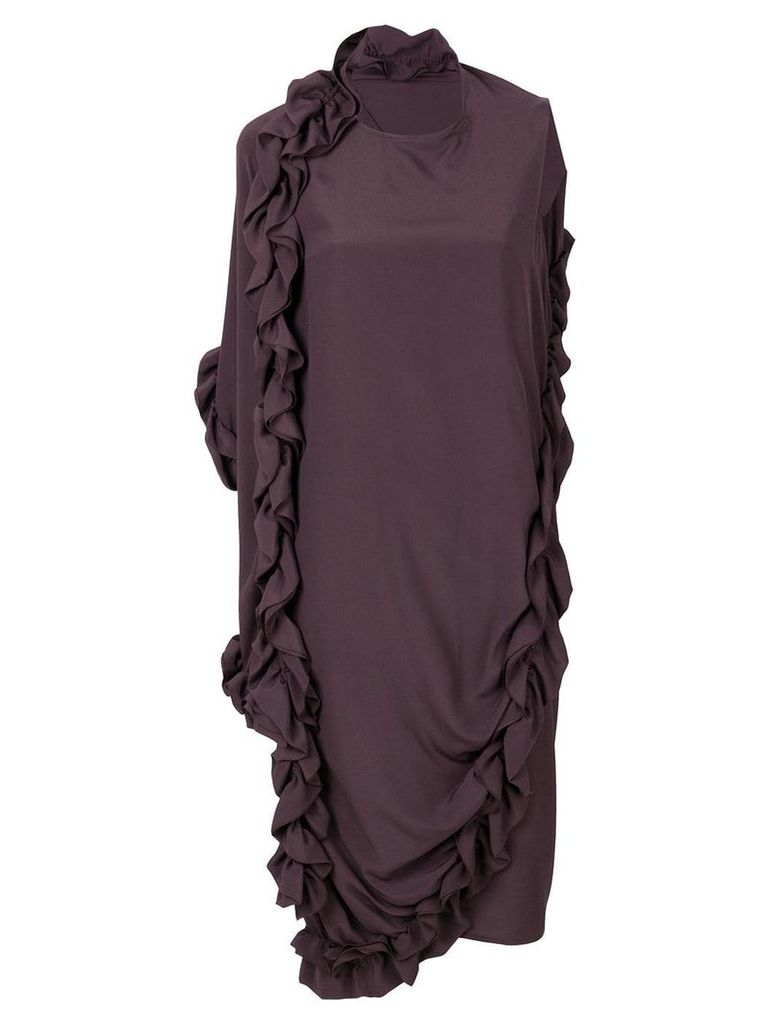 Marni ruffle asymmetric dress - Brown