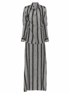 Y/Project Striped linen maxi dress - Grey