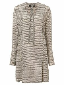 Proenza Schouler Silk Block Print Long Sleeve Dress - Pink