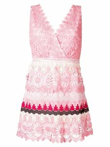 Self-Portrait striped floral guipure dress - Pink