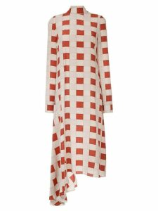 Marni checked ruffle hem dress - Neutrals