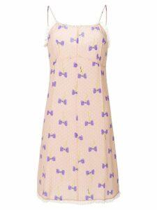 Miu Miu bow print dress - Pink