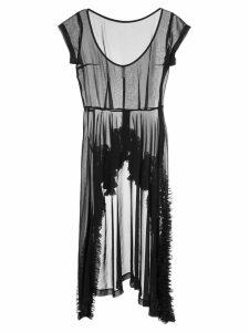 COMME DES GARÇONS PRE-OWNED ruffle trim sheer dress - Black