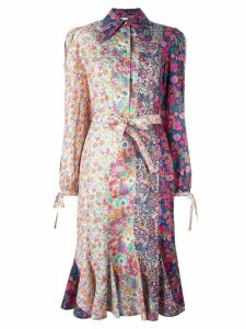 Olympia Le-Tan floral print belted shirt dress - Multicolour