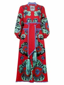 Yuliya Magdych Poppies embroidered kimono dress