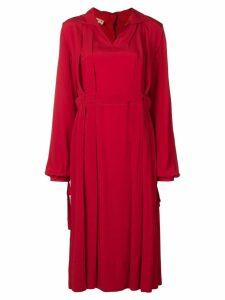 Marni pleat detail dress - Red