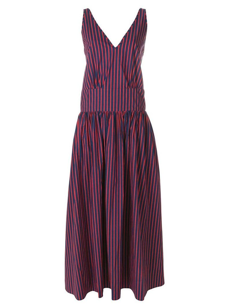 La Doublej striped v-neck dress - Blue