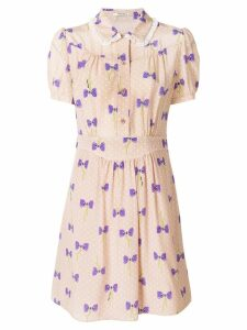 Miu Miu bow print dress - Neutrals