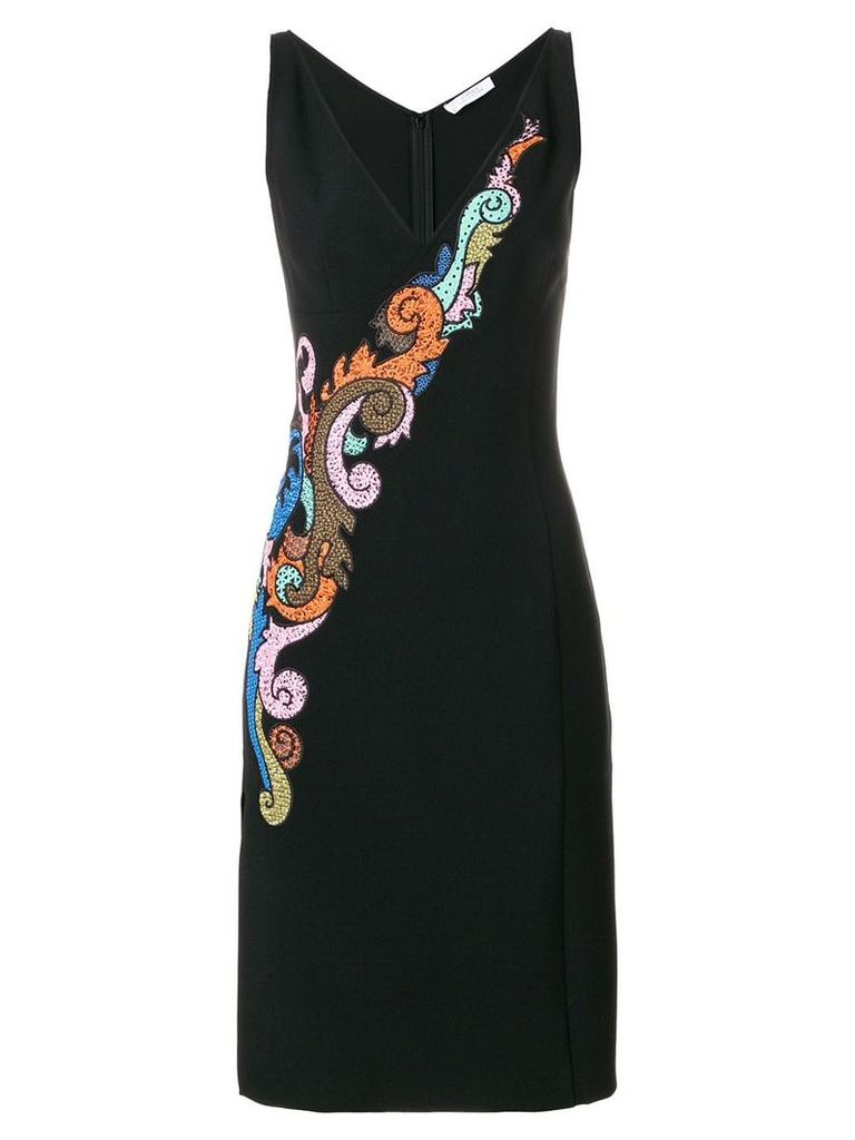 Versace Collection embroidered v-neck dress - Black