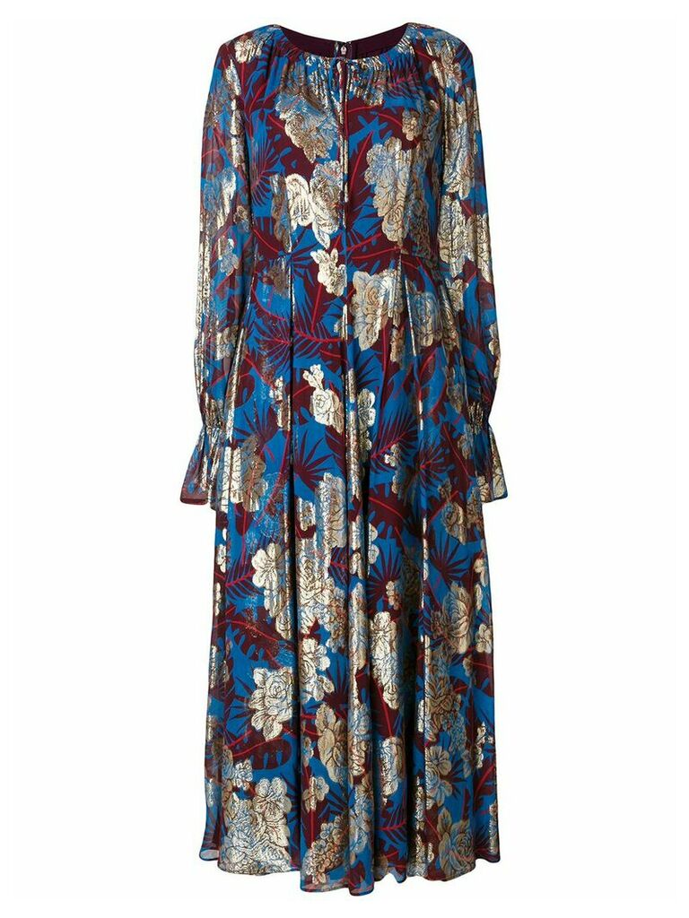Talbot Runhof jungle mousseline dress - Blue