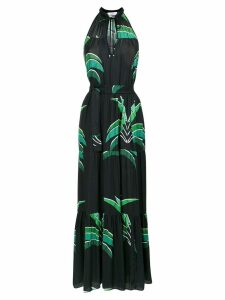 Amir Slama foliage print long dress - Black