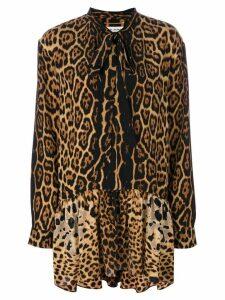 Saint Laurent leopard print neck tie dress - Black