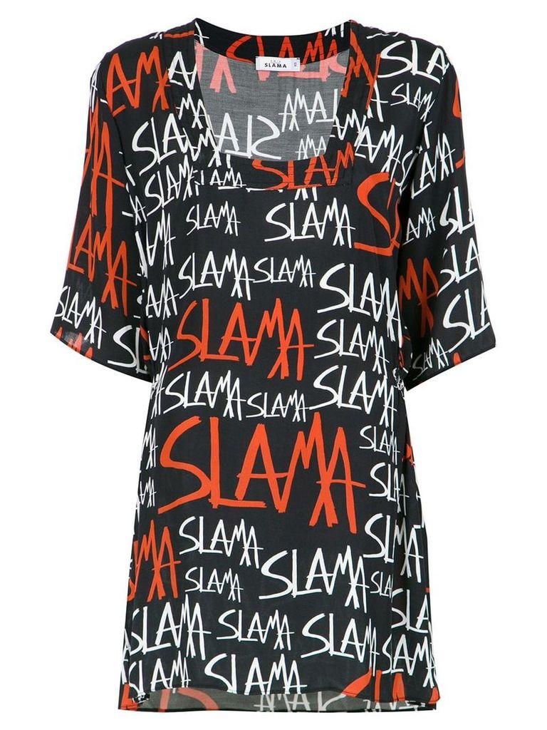 Amir Slama logo print shift dress - Black