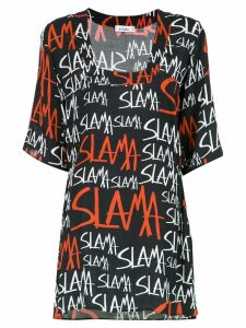Amir Slama logo print shift dress - Black
