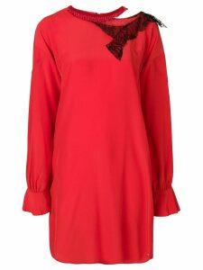 Giacobino cut out embellished neck shirt dress - Red