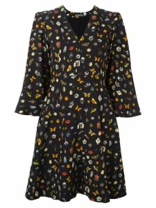 Alexander McQueen Obsession print cape dress - Black