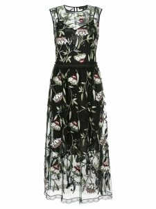 Markus Lupfer sheer floral print dress - Black