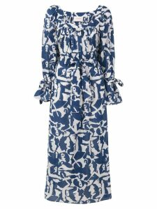La Doublej printed long shirt dress - Blue