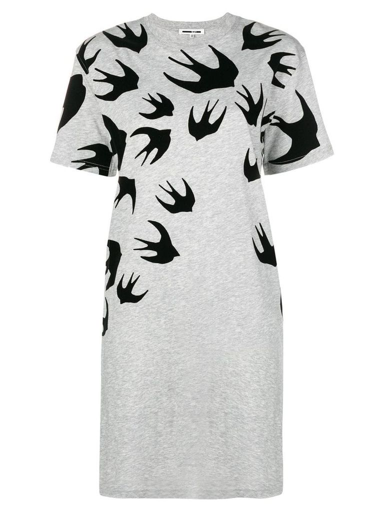 McQ Alexander McQueen swallow print T-shirt dress - Grey