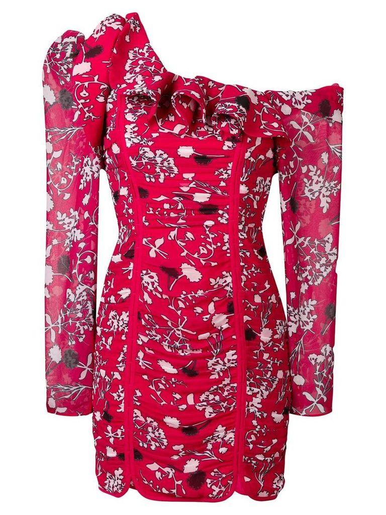 Self-Portrait print one-shoulder dress - Red