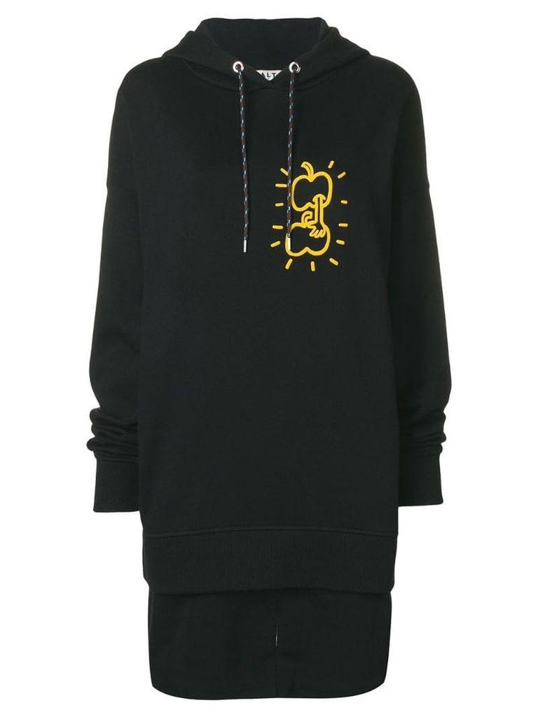 Aalto apple print hoodie dress - Black