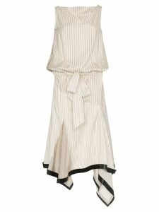 JW Anderson neutral silk lambskin trim asymmetrical dress - Neutrals