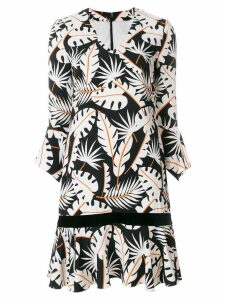 Talbot Runhof jungle print flared dress - White