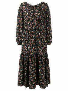 Saint Laurent floral print peasant dress - Black