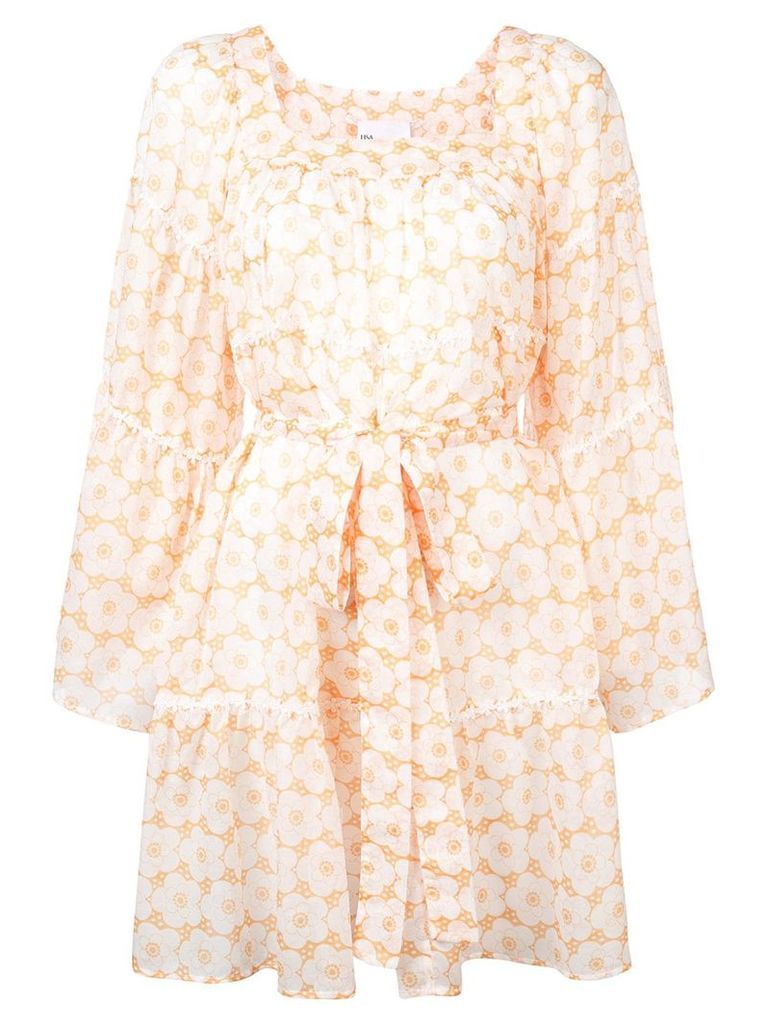 Lisa Marie Fernandez floral frilled dress - Yellow