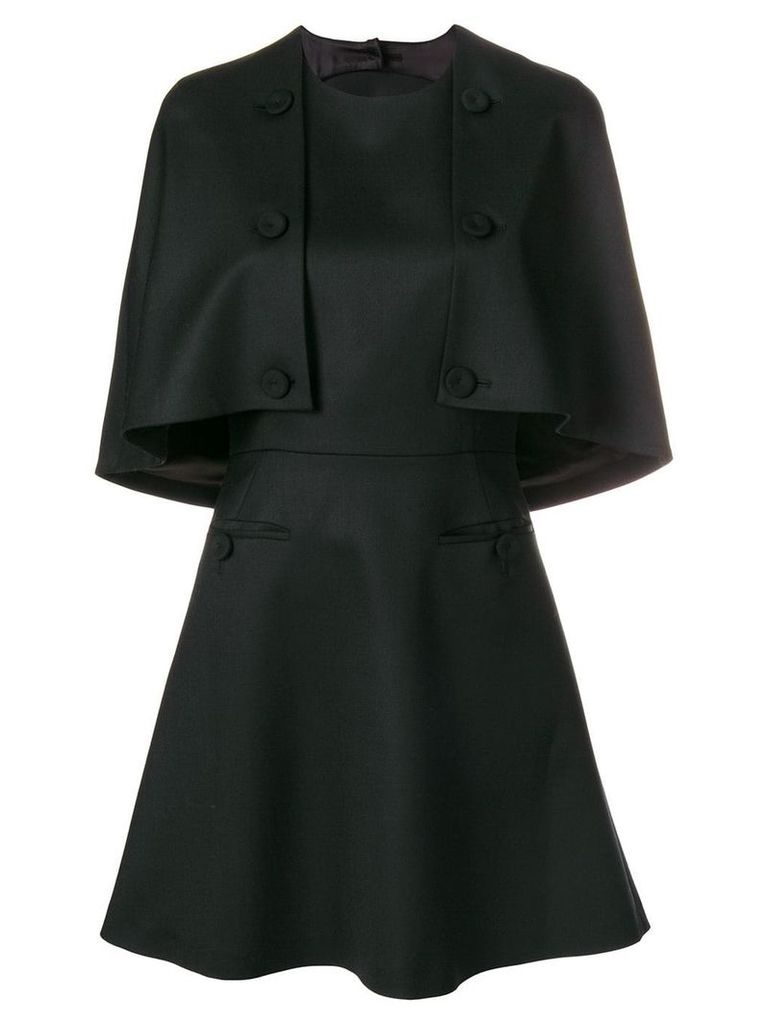 Sara Battaglia front buttons detail a-line dress - Black
