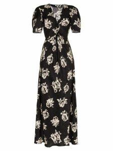 Miu Miu V-neck rose print short sleeve silk dress - Black