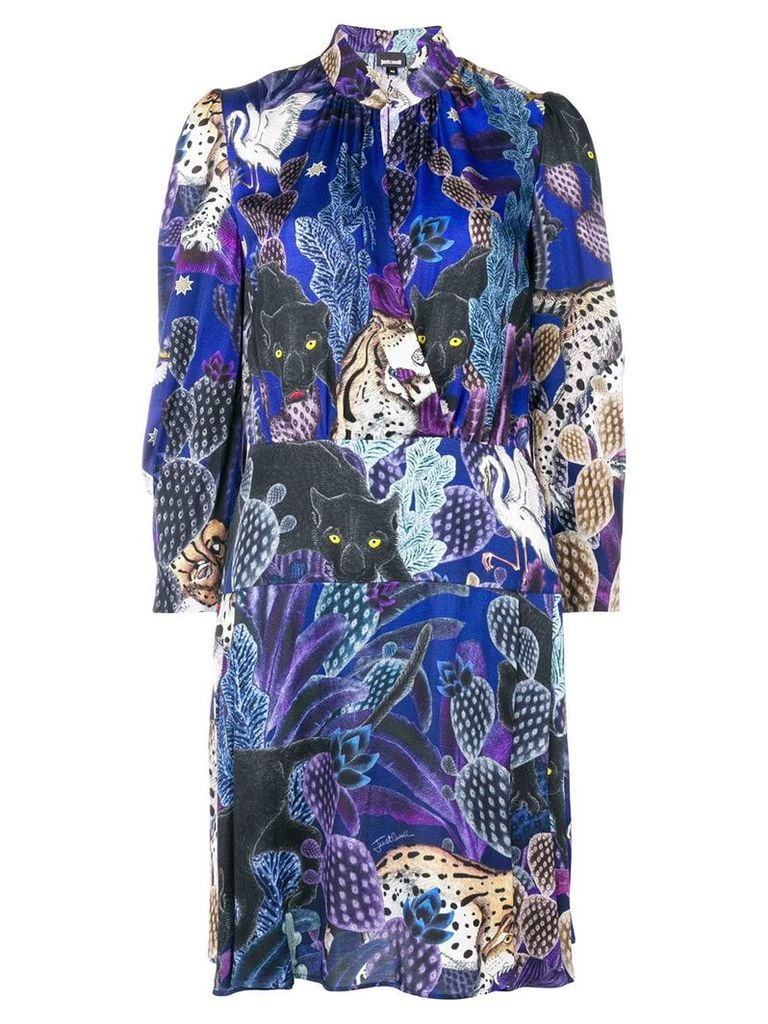 Just Cavalli colllage-print dress - Blue