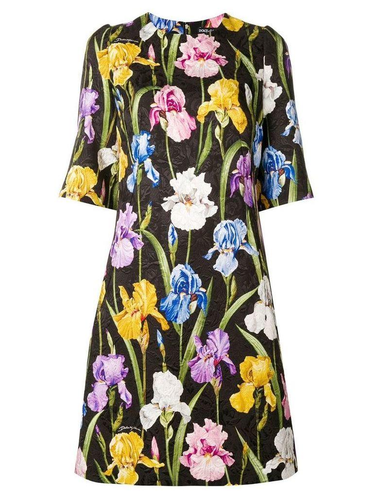 Dolce & Gabbana floral-print jacquard dress - Black