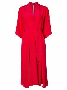 Tome V-neck belted dress - Red