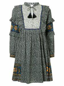 Sea Maya border print ruffle sleeve dress - Black