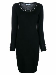 Blumarine pearl embellished fitted dress - Black