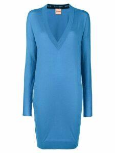 Nude v-neck sweater dress - Blue