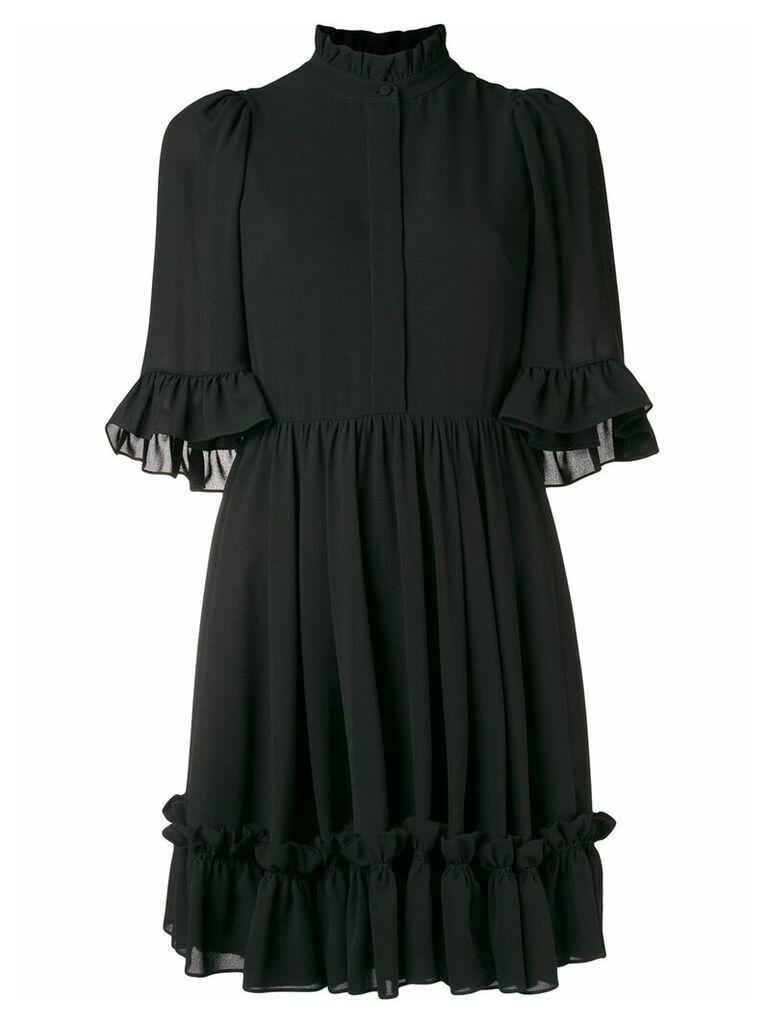 Alexander McQueen ruffle trim mini dress - Black