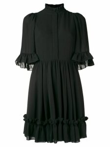 Alexander McQueen ruffle trim mini dress - Black